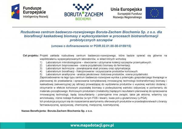 Rozbudowa centrum badawczo-rozwojowego Boruta-Zachem Biochemia Sp. zo.o. dla biorafinacji kaskadowej biomasy zwykorzystaniem wprocesach biotransformacji probiotycznych szczepów